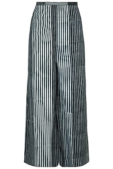 Black Hand Block Printed Palazzo Pants by Silkwaves