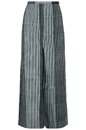 Black Hand Block Printed Palazzo Pants by Silkwaves
