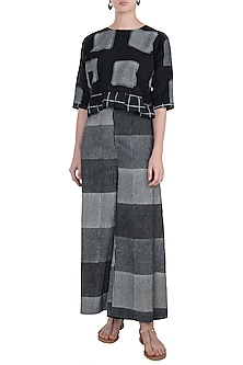 Black & Ivory Hand Block Printed Palazzo Pants by Silkwaves