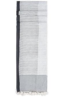 Ivory Geometric Hand Block Printed Dupatta by Silkwaves