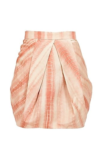 Flesh tie-dyed pleated short skirt by Sailex