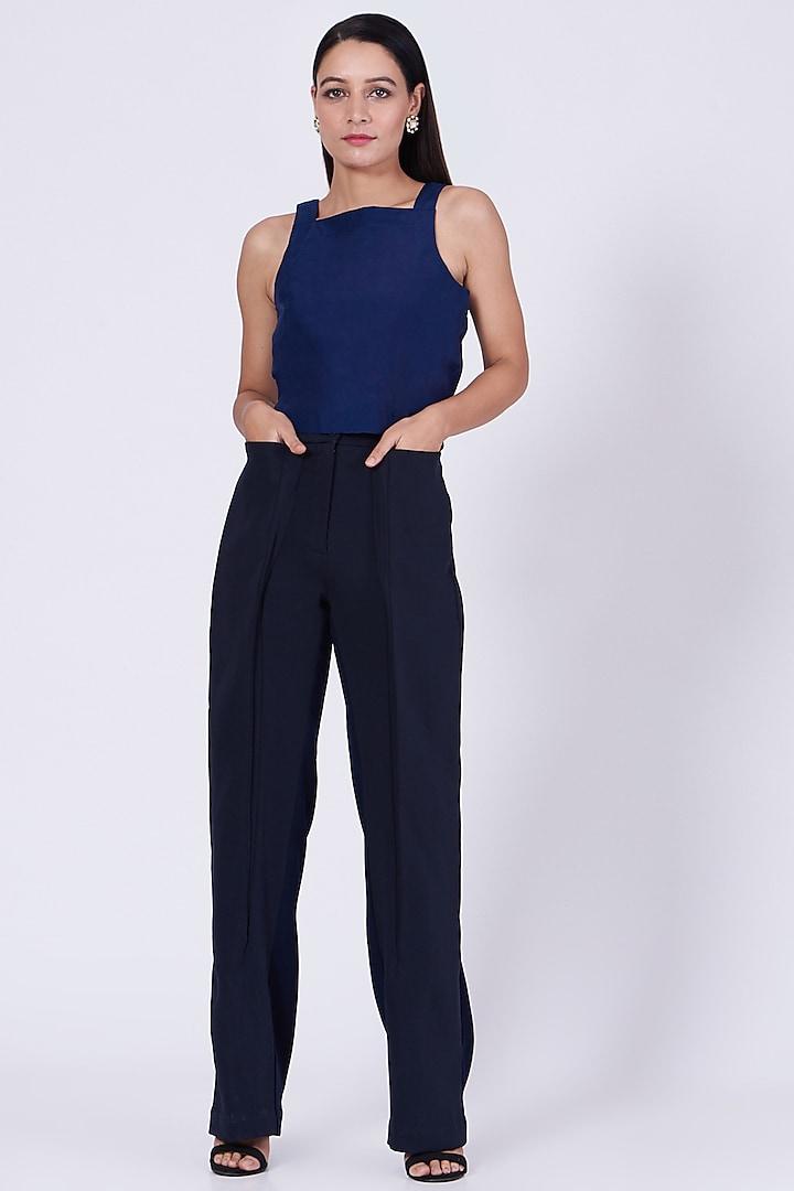 Space Blue Straight Trousers by Somya Goyal