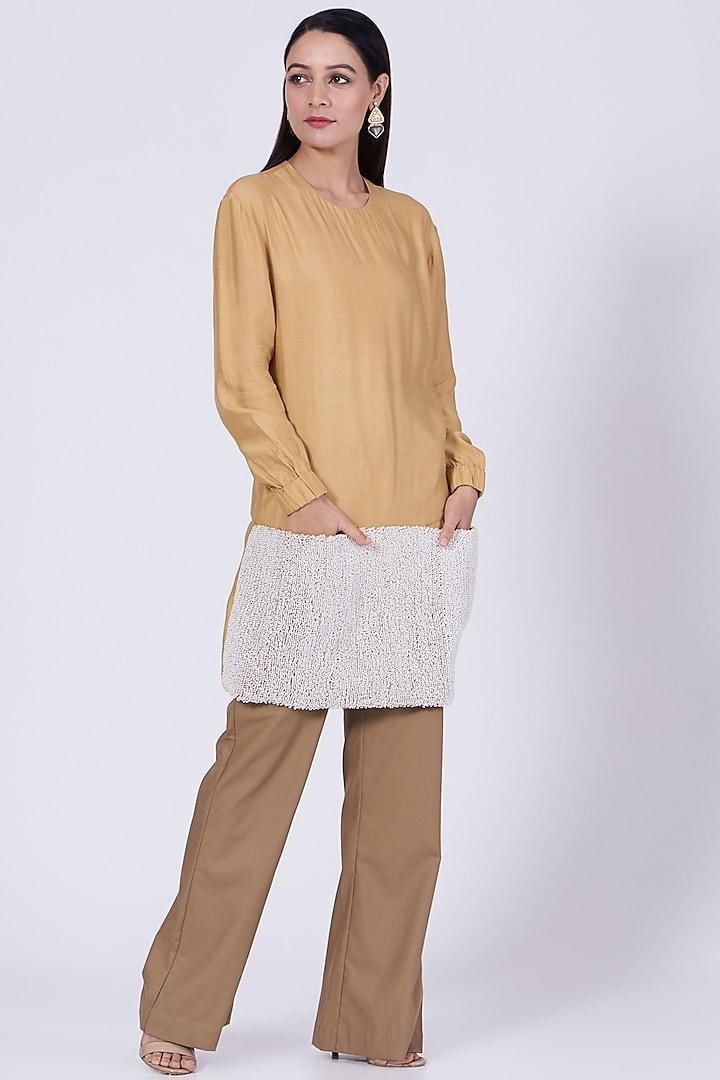 Walnut Beige Flared Trousers by Somya Goyal