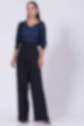 Charcoal Black Hand Embroidered Flared Trousers by Somya Goyal