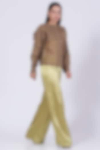 Walnut Beige Silk Organza Double-Layered Shirt by Somya Goyal