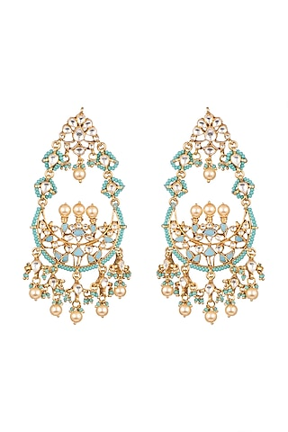 Gold Plated Beaded Earrings by Safir By Madhuri