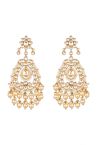 Gold Plated Earrings With Kundan by Safir By Madhuri