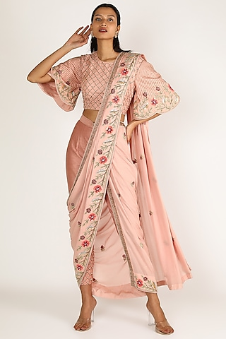 Peach Embroidered Pant Saree With Belt by Miku Kumar