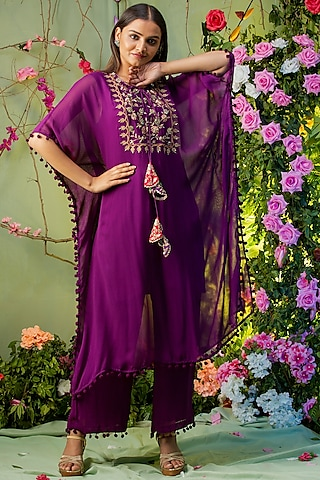Purple Embroidered Kaftan Set by Miku Kumar