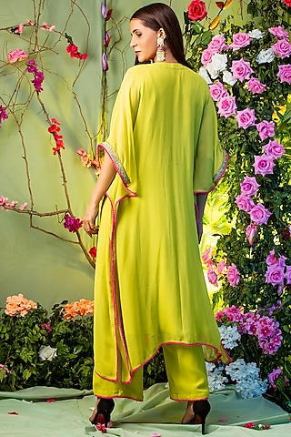 Green Embroidered Kaftan Set by Miku Kumar