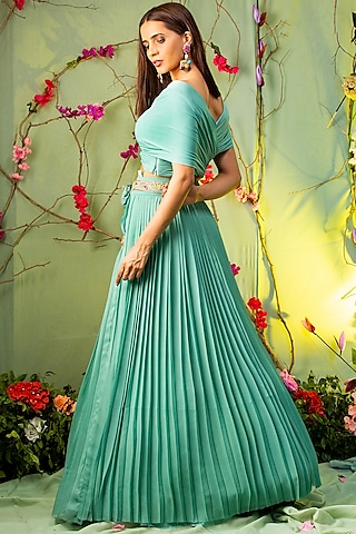 Sea Green Embroidered Skirt Set by studio miku kumar