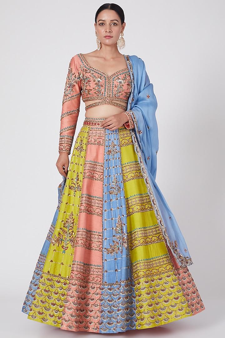 Multi Colored Hand Embroidered Lehenga Set by Miku Kumar