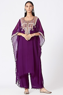 Purple Zari Embroidered Kaftan Kurta Set by Miku Kumar-POPULAR PRODUCTS AT STORE
