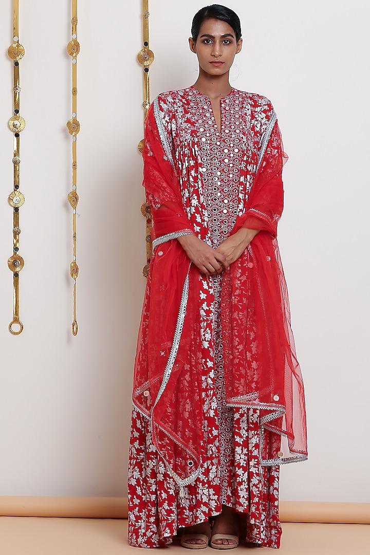 Red Embroidered & Printed Kurta Set by Seema Nanda