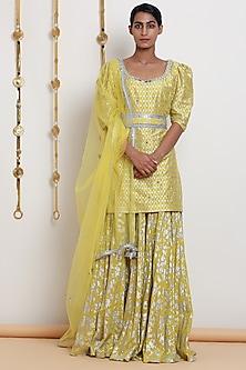 Yellow Embroidered & Printed Kurta Set by Seema Nanda
