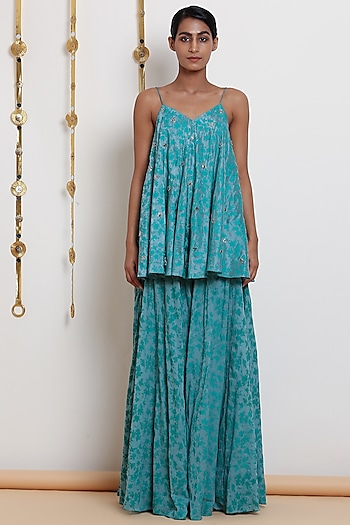 Emerald Green Embroidered Strappy Top With Flared Pants by Seema Nanda