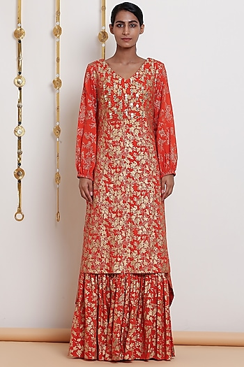 Orange Embroidered & Printed Kurta Set by Seema Nanda