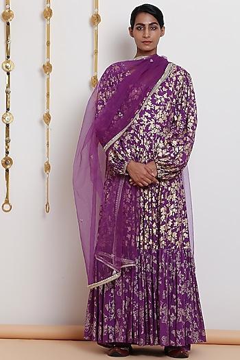 Purple Embroidered & Printed Kurta Set by Seema Nanda