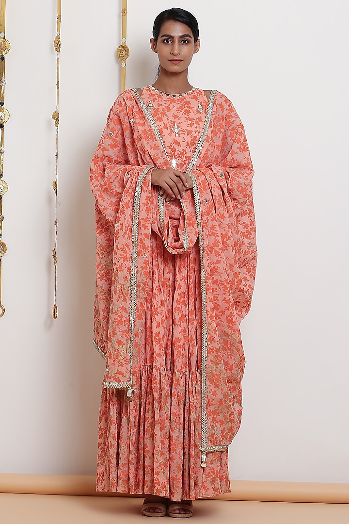 Peach Embroidered & Printed Kurta Set by Seema Nanda