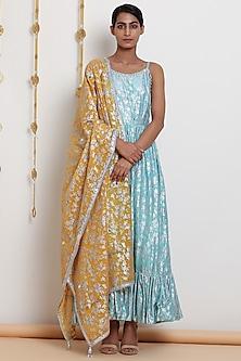 Mint Blue Embroidered & Printed Kurta Set by Seema Nanda