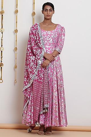 Blush Pink Embroidered & Printed Kurta Set by Seema Nanda