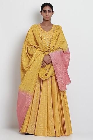Yellow Embroidered Kalidar Kurta Set by Seema Nanda