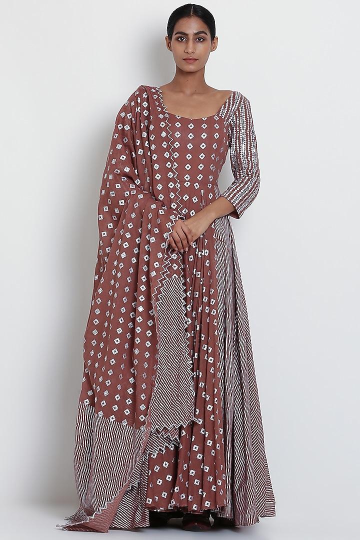 Brown Floral Printed Kurta Set by Seema Nanda