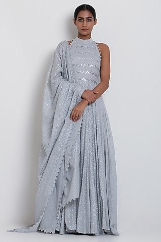 Grey Embroidered Kalidar Kurta Set by Seema Nanda