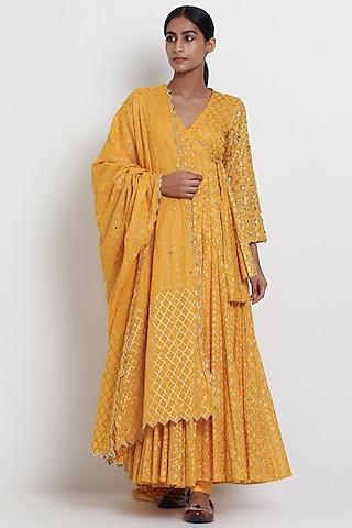 Yellow Embroidered Angrakha Kurta Set by Seema Nanda