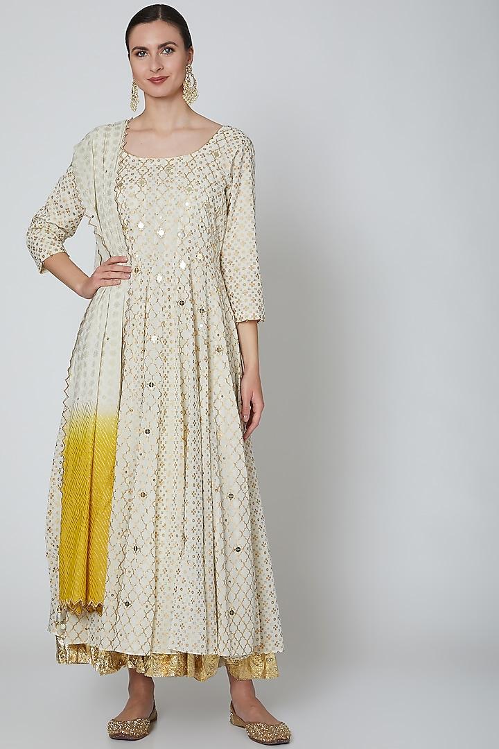 White Embroidered Anarkali Set by Seema Nanda