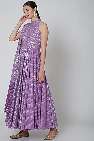 Purple Embroidered Anarkali Set by Seema Nanda