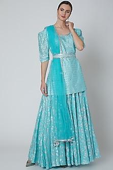 Turquoise Embroidered Kurta Set by Seema Nanda