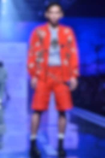 Orange Embroidered Bomber Jacket by Shahin Mannan Men