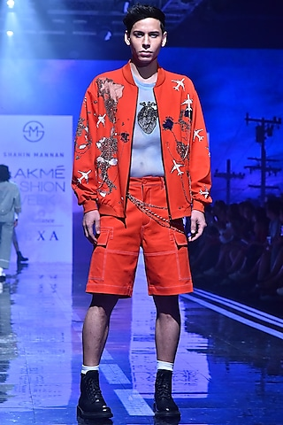 Orange Embroidered Bomber Jacket by Shahin Mannan Men