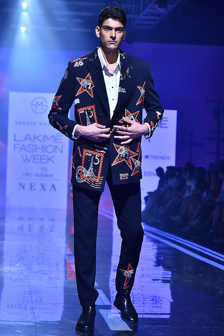 Navy Blue Double Breasted Embroidered Blazer by Shahin Mannan Men