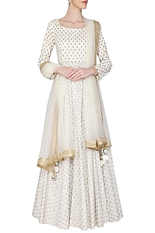 Ivory Kalidar Embroidered Kurta Set by Seema Nanda