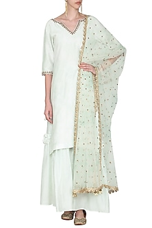 Powder Green Embroidered Tie with Dye Kurta Set by Seema Nanda