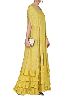 Mustard Embroidered with Printed Kurta Set by Seema Nanda