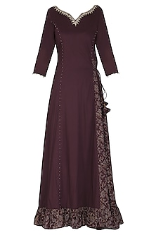 Maroon Embroidered Maxi Dress with Dupatta by Seema Nanda