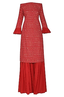 Red Off Shoulder Embroidered Kurta Set by Seema Nanda