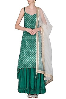 Pink with Green Asymmetrical Embroidered Kurta Set by Seema Nanda