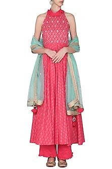 Hot Pink Kalidar Embroidered Kurta Set by Seema Nanda