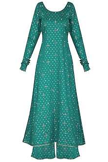 Bottle Green Embroidered A-Line Kurta Set by Seema Nanda