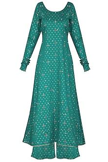 Bottle Green Embroidered A-Line Kurta Set by Seema Nanda