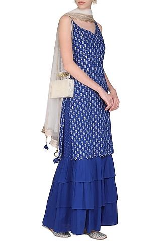 Electric Blue Block Print with Embroidered Kurta Set by Seema Nanda