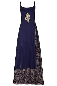 Navy Blue Block Printed Strappy Maxi Dress with Dupatta by Seema Nanda