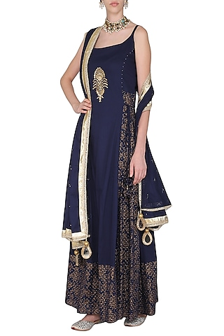Navy Blue Block Printed Strappy Maxi Dress with Dupatta by Seema Nanda