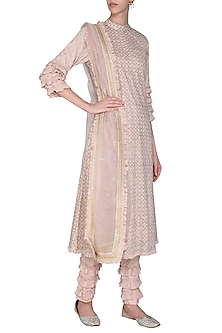 Peach Embroidered Kurta Set by Seema Nanda