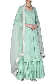 Powder Blue Hwith Woven with Embroidered Kurta Set by Seema Nanda
