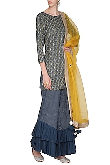 Prussian Blue Short Embroidered with Printed Kurta Set by Seema Nanda
